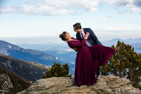 Evergreen, Colorado Fine Art Pre Wedding Photography with some giggles and a surprise dip