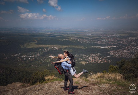 Mountain Vitosha near Sofia, Bulgaria Fine Art Engagement Session with The couple is preparing to fly on the wings of love