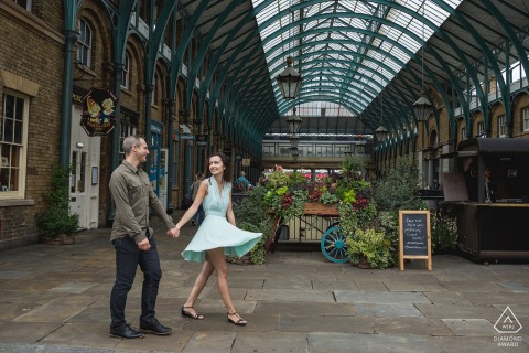 London environmental engagement e-session of a couple strolling in a Convent garden