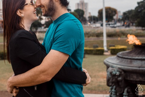 Independence Square, São Paulo, SP, Brazil environmental engagement e-session with a kiss and a flame