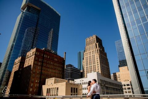 Prise de vue électronique sur site du centre-ville de Houston parmi les grands immeubles