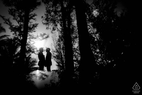 Phuket, Thailand environmental engagement e-session in black and white of couple in a forest silhouetted