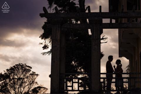 Dalat environmental engagement e-session silhouette of a couple with a moody sky