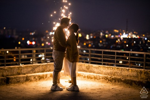 Dalat on-location portrait e-shoot of couple with the night sky lit up