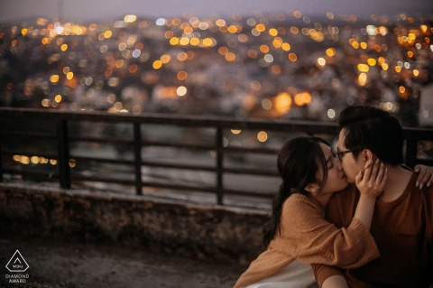 Dalat portrait e-session in the evening overlooking the city