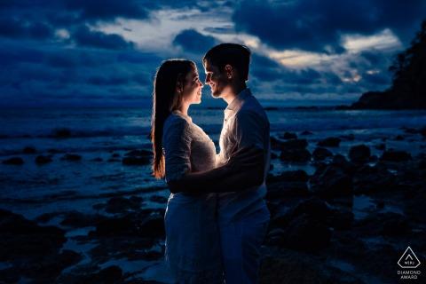 Marina Los Sueños - Herradura environmental engagement e-session of a couple during blue hour at a beach