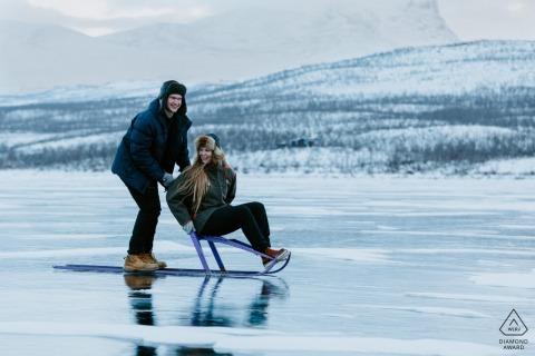 Abisko, Sweden portrait e-session on a frozen lake in February