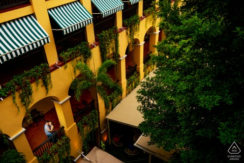 Hotel El Convento San Juan portrait e-session Landscape shot of the hotel with the couple
