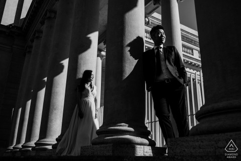 Legion of Honor, sesión electrónica de retratos de San Francisco con un punto de vista contrastante en ropa formal en blanco y negro