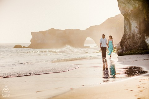 Santa Cruz environmental engagement e-session showing Nothing feels better than strolling by her side