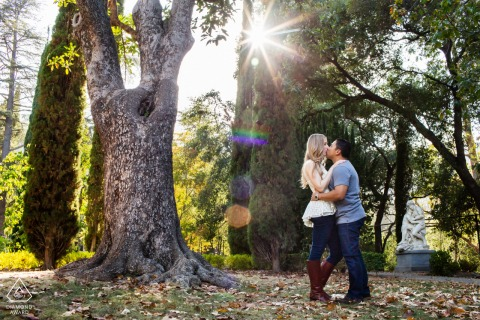 Saratoga portrait e-session with an affectionate kiss in the woods