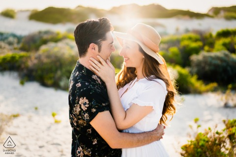 Perth on-location portrait e-shoot with A beautiful embrace during sunset