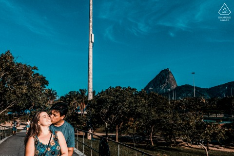 True Love Engagement Portrait Session in Rio de Janeiro showing a couple feeling the city is still beautiful