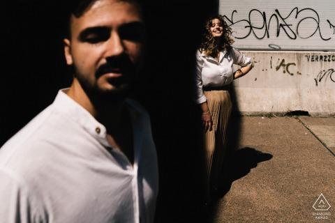 Napoli True Love Pre-Wedding Portrait Session in Naples showing a couple enjoying the urban city sunshine