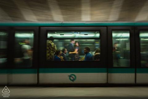 True Love Pre-Wedding Portrait Session in Paris illustrating a couple in an urban metro train subway setting