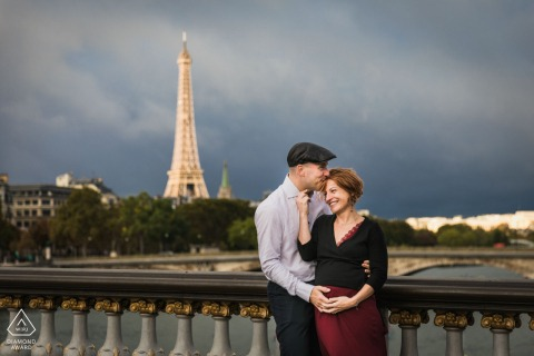 True Love Pre-Wedding Portrait Session in Paris capturing a couple with the France tower in the background