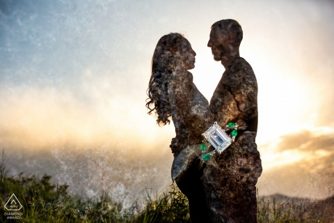 True Love pre wedding Photoshoot in Golden, CO of a couple and A stunning emerald engagement ring with the couple's silhouette in a creative double exposure