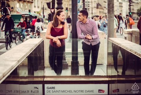 True Love Pre-Wedding Portrait Session in Paris showing a couple in the streets of France