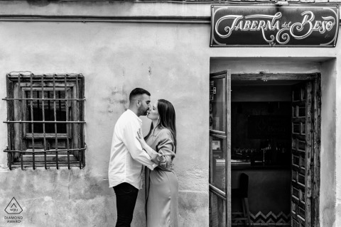 True Love Engagement Portrait Session in Granada, Spain displaying a couple embracing in a tender BW shoot