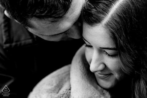 True Love Pre-Wedding Portrait Session in Beakon Fell illustrating a couple caught up in romantic Snuggles