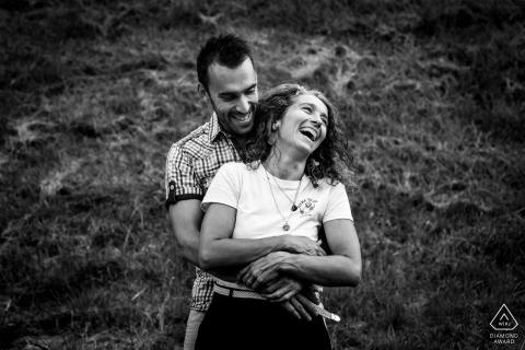 True Love Pre-Wedding Portrait Session in Castelnau de Levis capturing a laugh between the future bride and groom