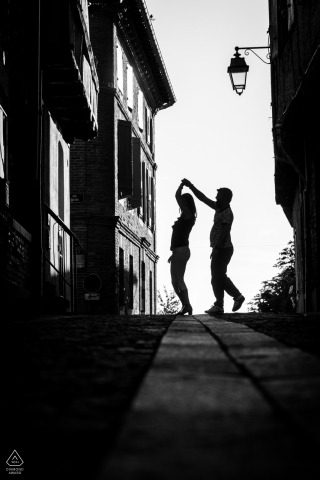 True Love pre wedding Photoshoot in Albi of a couple Dancing in the streets of France