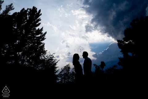 True Love Engagement Portrait Session in Bragança showing the couple's gaze, together with the Clouds