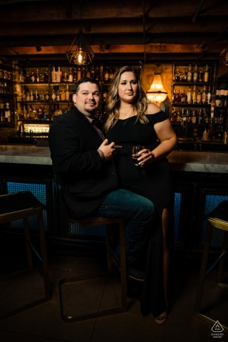 True Love pre wedding Photoshoot at Sidecar New Braunfels of a couple in formal wear at the bar