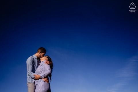 True Love Engagement Portrait Session in Montpellier showing a couple at the beach under a clear blue sky