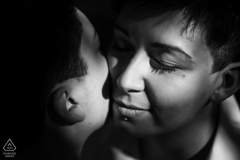 True Love Engagement Picture Session at Bosco Romagno, Cividale showing a couple in BW with Lights and shadows in Italy