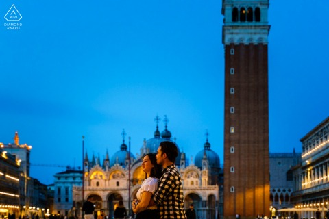 True Love Engagement Picture Session in Venice showing a couple Night portrait in Piazza San Marco
