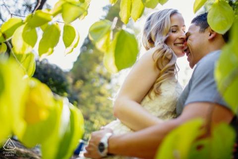 True Love Pre-Wedding Portrait Session in Saratoga illustrating a couple inside the foliage frame
