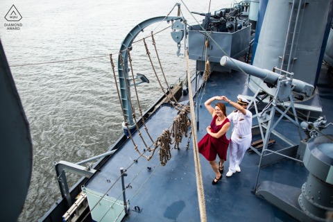 Albany, NY couple e-session on the USS Slater of swing dancers cutting a rug on a battleship
