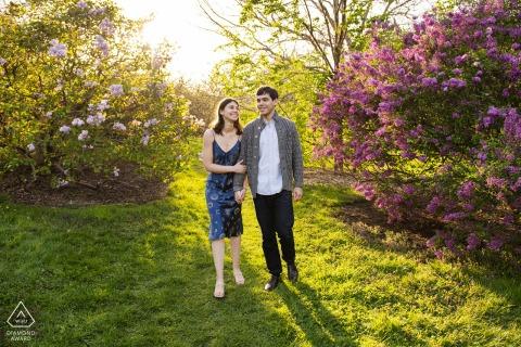 Arnold Arboretum, Boston couple e-shoot holding hands walking through lilac bushes