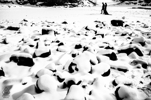 Two Harbors, MN couple e-session walking in the snow