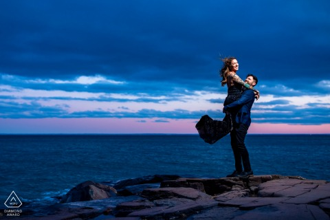 Duluth, MN couple e-session having fun by the water