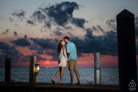 Sunset Key, Key West couple e-session at sunset on a dock