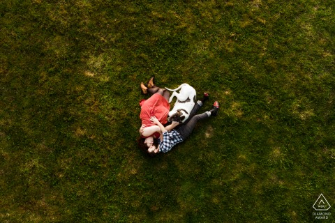 Cruguel, FR couple e-session created with a drone, shot from above