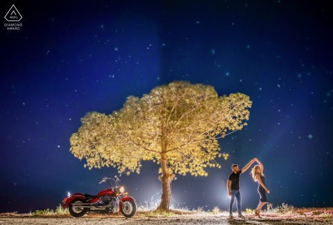 Murcia couple engagement shoot in Spain shot at night with a tree and motorcycle