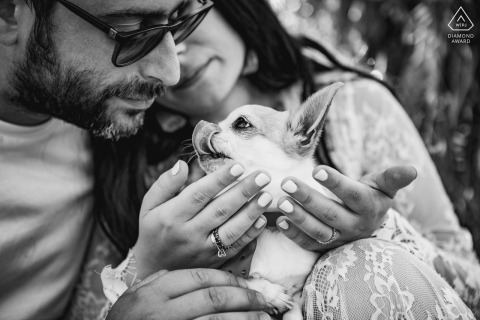 Cesena Hills couple e-session in Italy with a pet chihuahua dog used for the proposal
