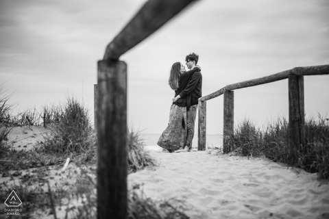 Ravenna Wild Beach couple e-session resulting in Italian black and white candid engagement shot