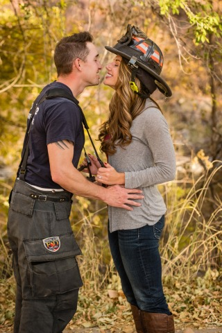 Bellvue, Colorado couple e-session as the Bride plays coy with firefighter fiance