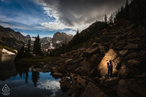 Colorado pre-wedding e-session at Indian Peaks Wilderness for a Creative silhouette of a couple in the Rocky Mountains