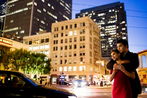 San Francisco couple e-shoot On the busy streets of SF CA at nightfall