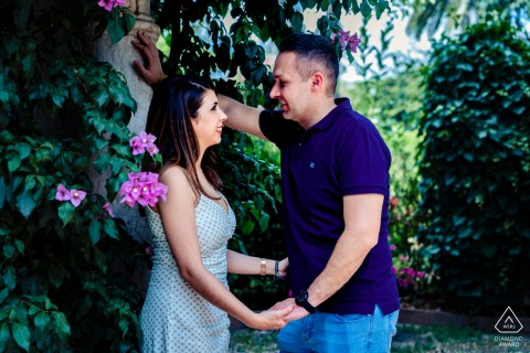 Córdoba, Spain couple e-shoot in a tropical, garden setting with soft light