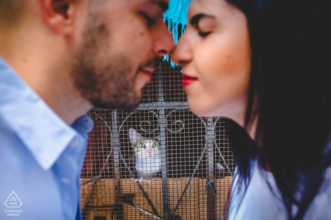 Siracusa couple e-session in Sicily, Italy with a cat behind bars and cage wires