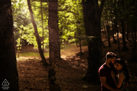 Monte Livata couple engagement portrait session in the woods with the fog