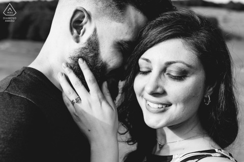 Monte Livata couple e-session in Italy resulting in a close up photo of the couple