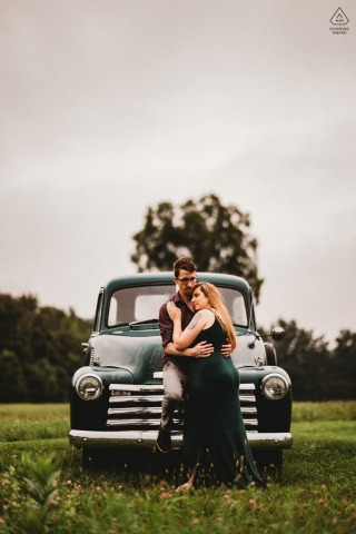 Valley View Farm, MA couple e-session while together standing on old Chevy pickup