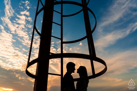 Muggia couple e-shoot in Trieste, Italy with Silhouettes and a ladder cage system